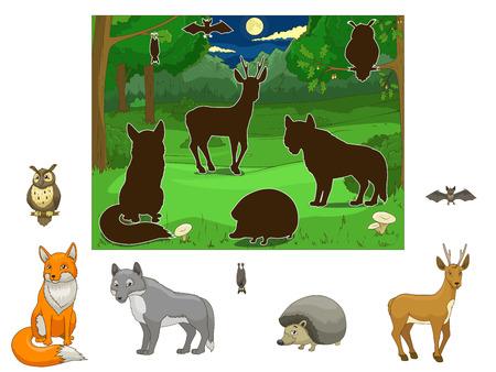 Coinciden con los animales a su sombra juego educativo ilustración vectorial