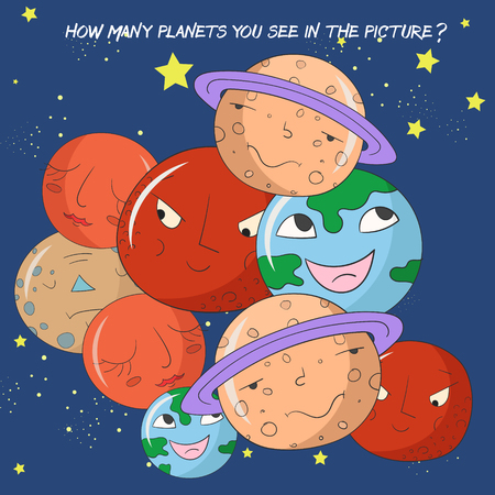 astronomer: Educational children game how many planets do you see doodle cartoon hand drawn vector illustration