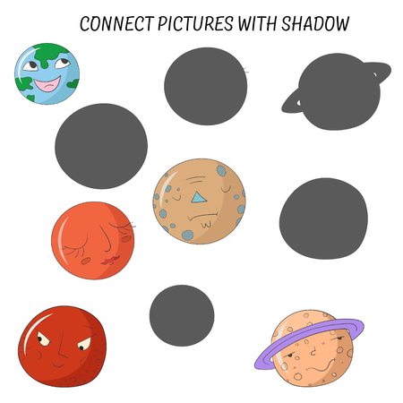 heaven and earth: Educational game for children connect pictures with shadow doodle cartoon hand drawn vector illustration Illustration