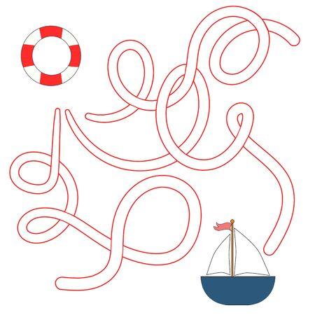 lifeline: Educational game for children find the way cartoon doodle hand drawn  vector illustration Illustration
