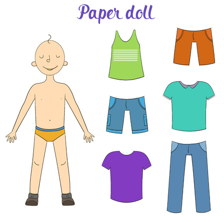 clothes cartoon: Paper doll boy and clothes cartoon doodle hand drawn vector illustration