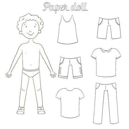 drawing paper: Paper doll boy and clothes coloring book cartoon doodle hand drawn vector illustration Illustration