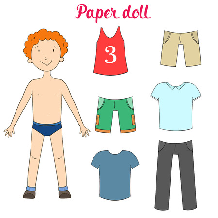 Paper doll boy and clothes cartoon doodle hand drawn vector illustration