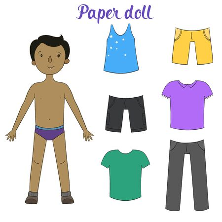 clothes cartoon: Paper Doll gar�on et v�tements doodle anim� dessin� � la main illustration vectorielle