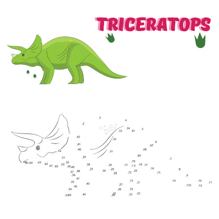 Educational game for children connect the dots to draw dinosaur vector illustration