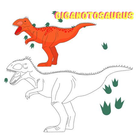 dinosauro: Gioco educativo per i bambini unire i puntini per disegnare disegnato illustrazione vettoriale dinosauro cartone animato Doodle mano