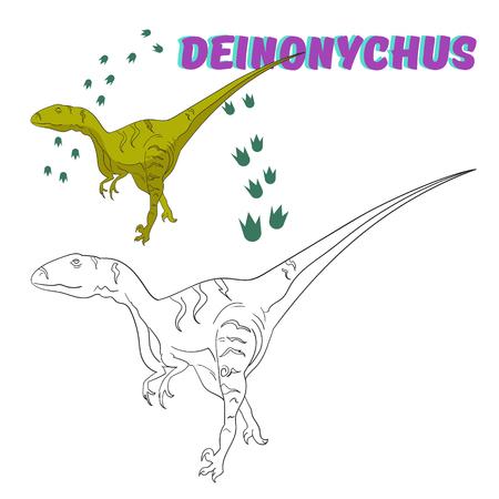 dinosaurio: Juego educativo para niños para colorear libro de dinosaurios bosquejo de dibujos animados dibujados mano ilustración vectorial