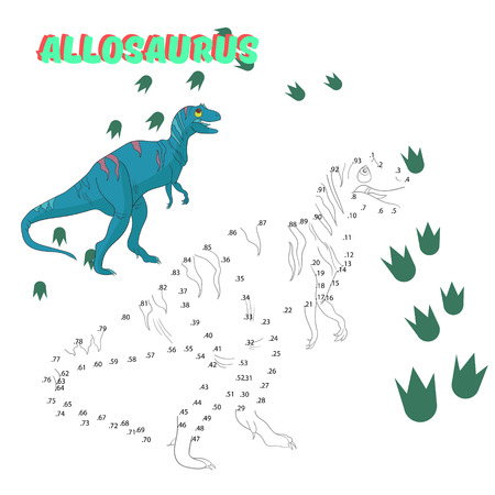 allosaurus: Educational game for children connect the dots to draw dinosaur cartoon doodle hand drawn vector illustration