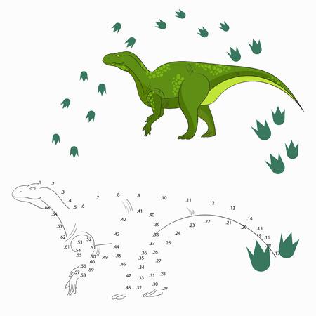 dinosaurio: Juego educativo para los ni�os conectar los puntos para dibujar dibujos animados dinosaurio garabato dibujado a mano ilustraci�n vectorial
