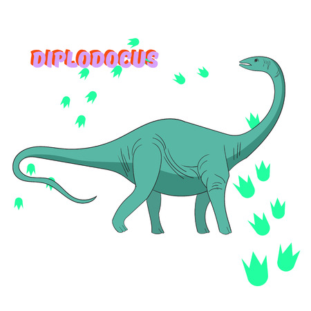 Cartoon dinosaur doodle hand drawn vector illustration Ilustrace