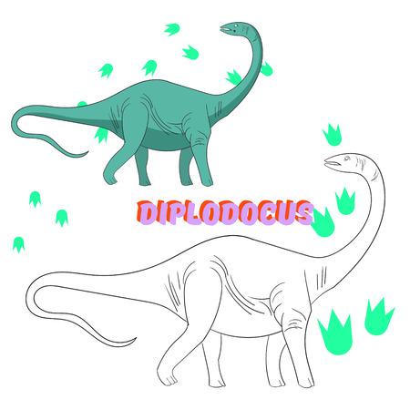 dinosaur cartoon: Educational game for children coloring book  dinosaur cartoon doodle hand drawn vector illustration