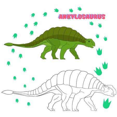 dinosauro: Gioco educativo per bambini da colorare libro sui dinosauri cartone animato Doodle disegnati a mano illustrazione vettoriale