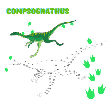 dinosaur cartoon: Educational game for children connect the dots to draw dinosaur cartoon doodle hand drawn vector illustration