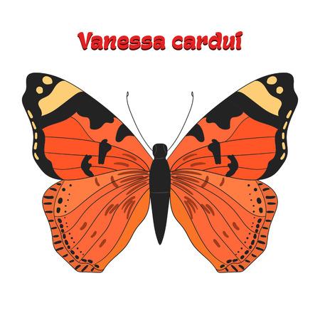 Farfalla Vanessa cardui cartone animato Doodle mano illustrazione vettoriale disegnato Archivio Fotografico - 46661489