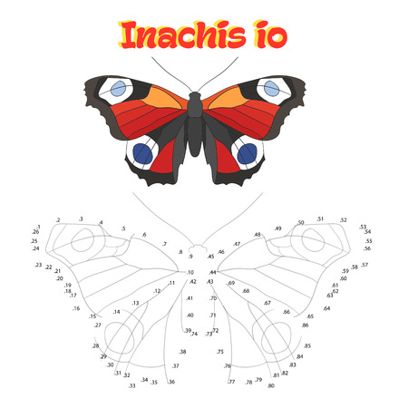 inachis: Educational game for children connect the dots to draw butterfly cartoon doodle hand drawn vector illustration