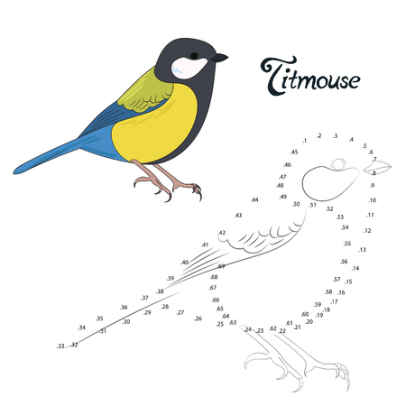 graphic drawing: Educational game connect the dots to draw titmouse bird  cartoon doodle hand drawn vector illustration