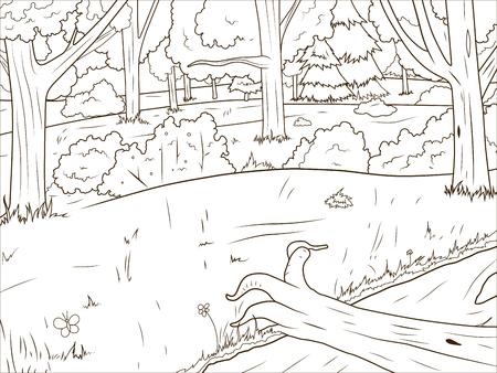 森漫画本教育ゲーム ベクトル イラストレーションを着色 写真素材 - 46661434