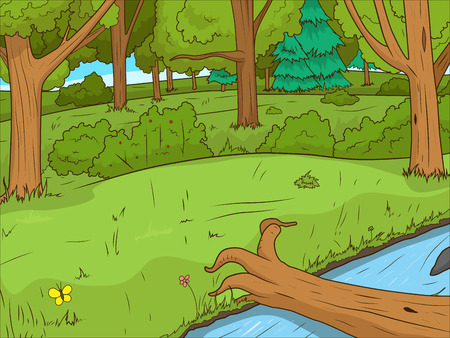 Forest cartoon educational game colorful vector llustration