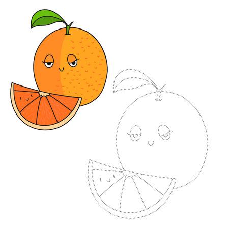 Educación Para Colorear Juego De Frutas De Color Naranja Bosquejo De ...
