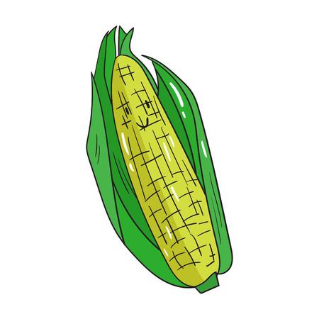corn cartoon: Ma�z Fruta bosquejo de dibujos animados a mano ilustraci�n vectorial dibujado