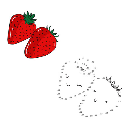 Educational game connect the dots to draw strawberry cartoon doodle hand drawn vector illustration