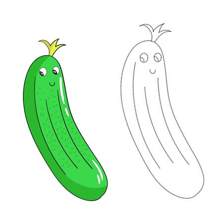 pepino caricatura: Juego educativo conectar los puntos para dibujar la historieta pepino garabato dibujado a mano ilustración vectorial