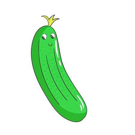 pepino caricatura: Vegetal doodle de la mano de dibujos animados de pepino ejemplo del vector dibujado Vectores