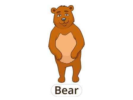 nocturnal animal: Forest animal bear cartoon for children vector illustration