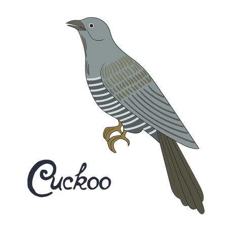 Bird cuckoo cartoon doodle hand drawn vector illustration