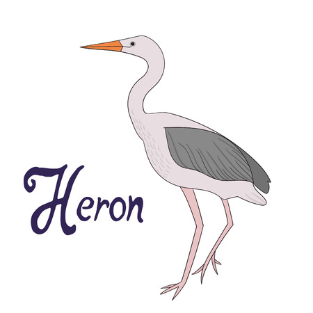 Bird heron cartoon doodle hand drawn vector illustration 向量圖像