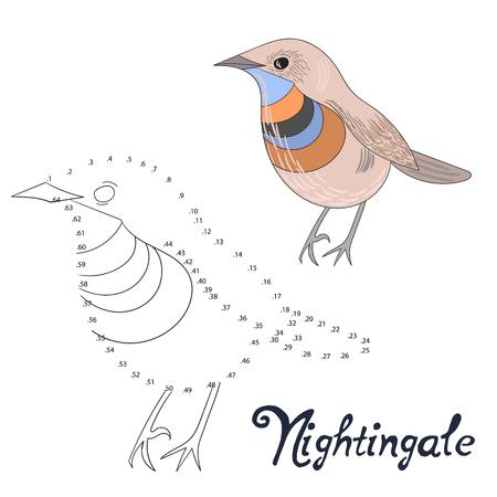 ruiseñor: Juego educativo conectar los puntos para dibujar pájaro ruiseñor bosquejo de dibujos animados dibujados a mano ilustración vectorial