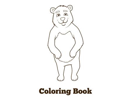 nocturnal animal: Forest animal bear cartoon coloring book for children vector illustration Illustration