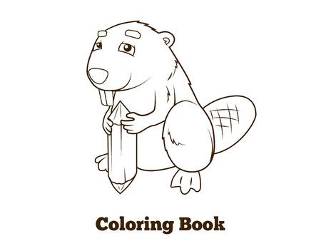 nocturnal animal: Forest animal beaver cartoon coloring book for children vector illustration Illustration
