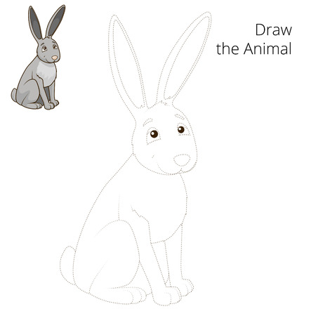 nocturnal animal: Draw the forest animal hare cartoon for children vector illustration