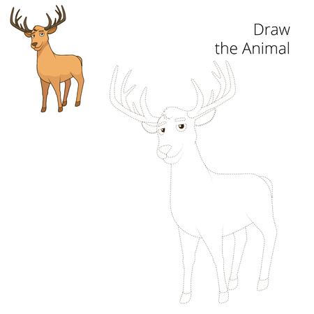 nocturnal animal: Draw the forest animal deer cartoon for children vector illustration Illustration