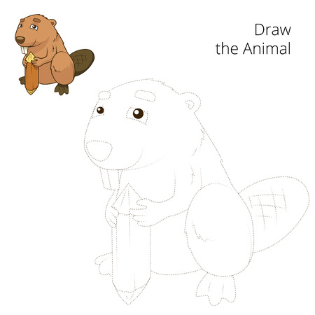 nocturnal animal: Draw the forest animal beaver cartoon for children vector illustration