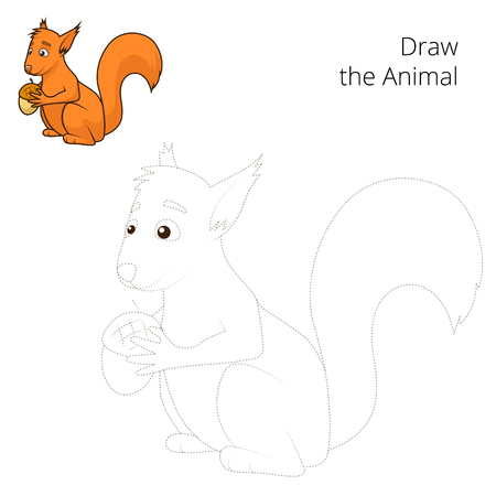 nocturnal animal: Draw the forest animal squirrel cartoon for children vector illustration