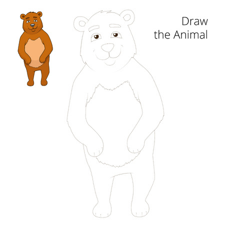 draw animal: Draw the forest animal bear cartoon for children vector illustration Illustration