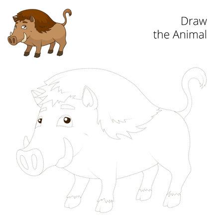 nocturnal animal: Draw the forest animal boar cartoon for children vector illustration Illustration