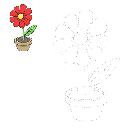 Draw cartoon flower hand drawn vector illustration