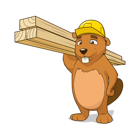 construction firm: Beaver builder colorful cartoon character vector illustration