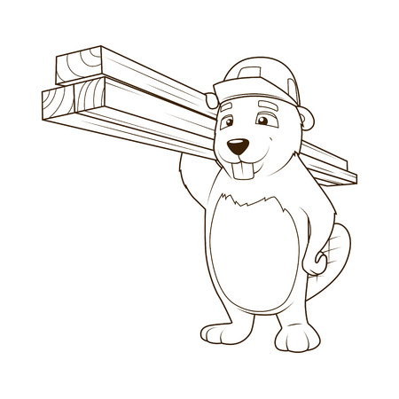 construction helmet: Beaver builder cartoon character coloring book vector illustration Illustration