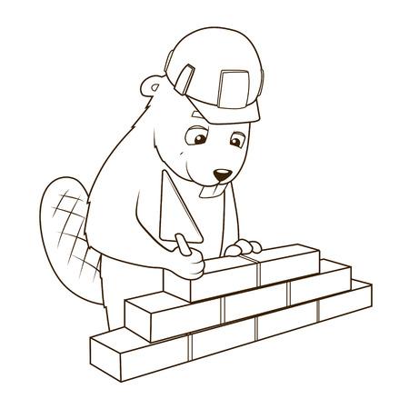 construction firm: Beaver builder cartoon character coloring book vector illustration Illustration