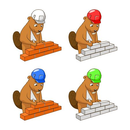 construction firm: Beaver builder colorful cartoon character different helmet colors vector illustration Illustration