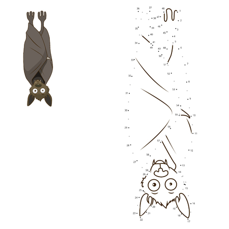 joining the dots: Connect the dots to draw the animal educational game for children bat vector illustration