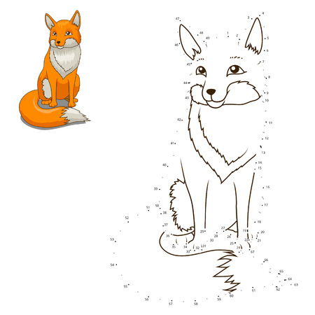 numbers abstract: Connect the dots to draw the animal educational game for children fox vector illustration Illustration