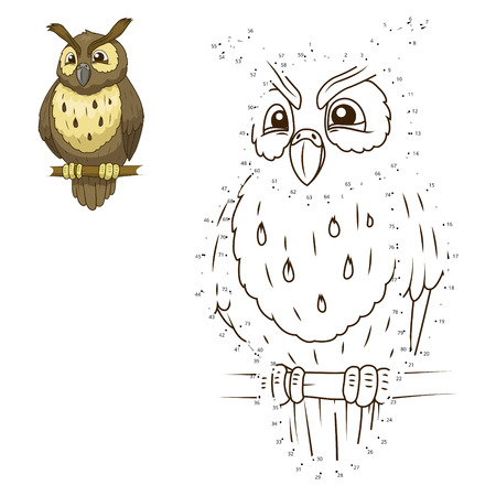 Connect the dots to draw the animal educational game for children owl vector illustration 向量圖像