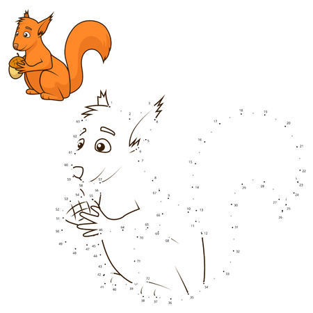 join: Connect the dots to draw the animal educational game for children squirrel vector illustration