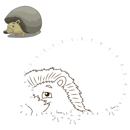 joining the dots: Connect the dots to draw the animal educational game for children hedgehog vector illustration Illustration