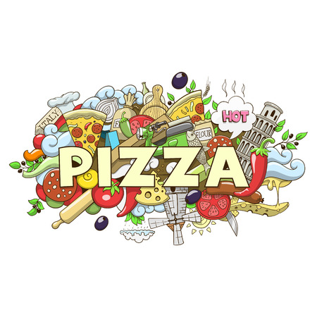 pizza dough: Pizza hand drawn title design colorful vector illustration Illustration